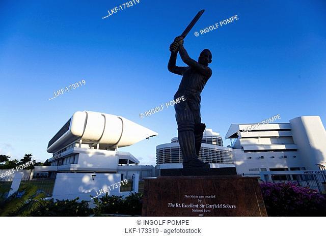 Statue of a cricketer near Kensington Oval, Bridgetown, Barbados, Caribbean