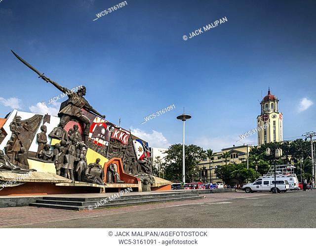 famous andres bonifacio shrine monument landmark in central manila city philippines with city hall and clock tower