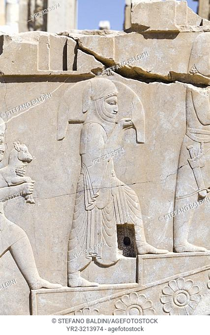Reliefs on the Tachara palace or private residence of Darius in Persepolis, Iran