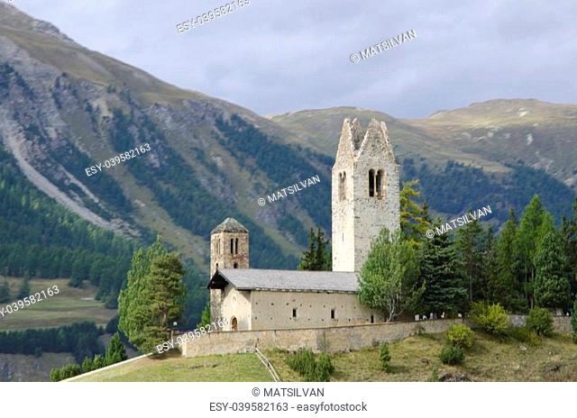 Church san giano celerina in samedan and mountain and green trees