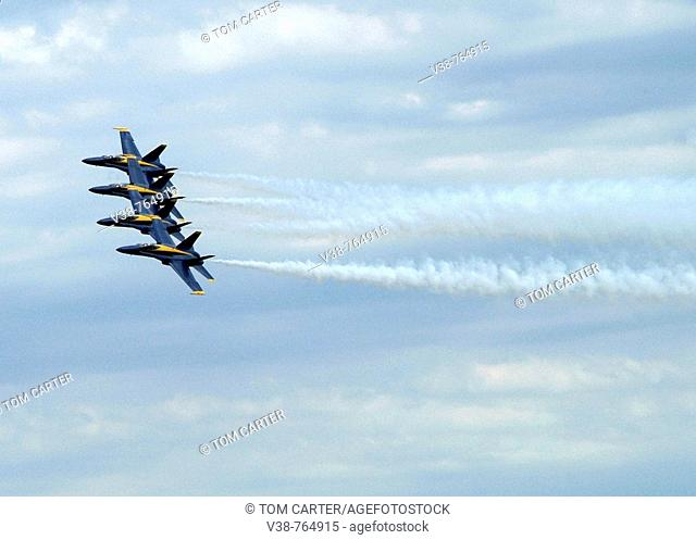 Blue Angels perform in air showat Andrews Air Force Base  in Camp Springs, Md
