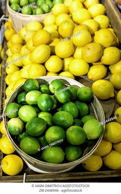 Lemons and limes on market stall,Richmond ,Surrey