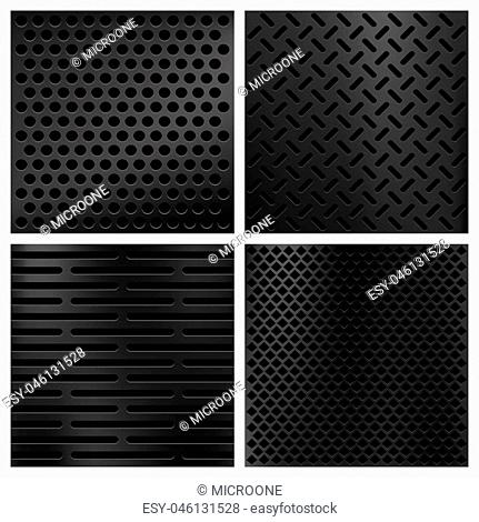 Kevlar fiber carbon vector textures set. Background pattern material illustration