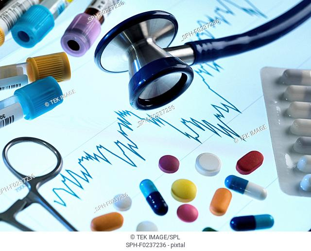 Investing in healthcare, conceptual image