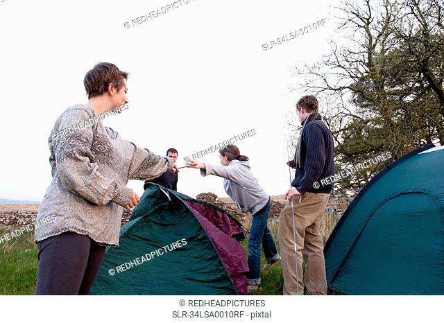 People pitching tents at campsite