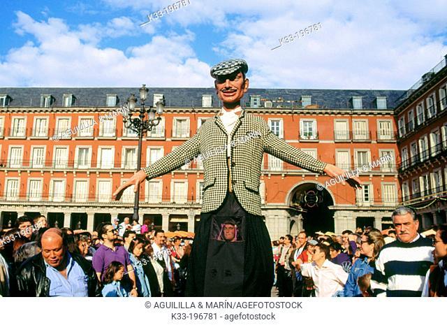 'Gigantes y cabezudos', local festival of San Isidro. Main Square. Madrid. Spain