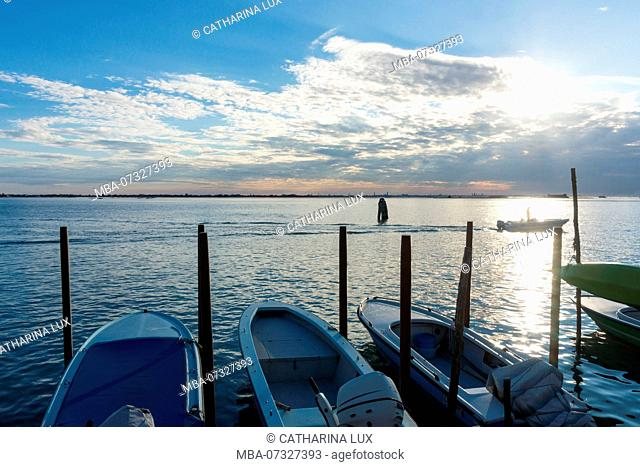 Venetian lagoon, island of Burano, evening light, view of Venice