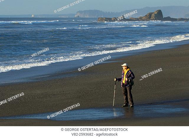 Hiker on Beach 3, Olympic National Park, Washington