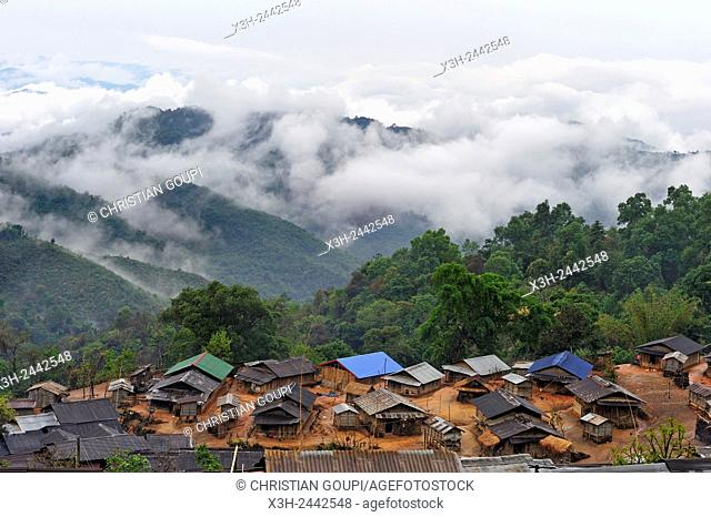 Akha tribe village in the mountains surrounding Muang La, Oudomxay Province in northwestern Laos, Southeast Asia