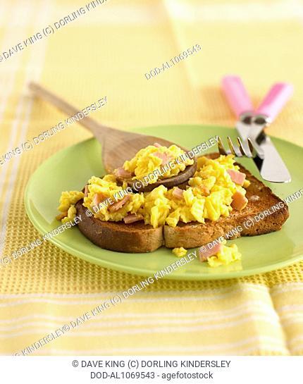 Ham and eggs on toast