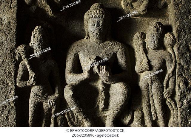 Carved Medallion with Buddha in it Aurangabad Caves, Aurangabad, Maharashtra