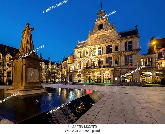 Belgium, Ghent, Sint-Baafsplein with monument and theater at dusk