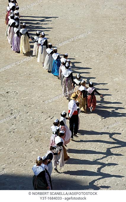 Europe, France, Bouches-du-Rhone, Arles. Day costume. Arena games, folk dance, farandole Provence