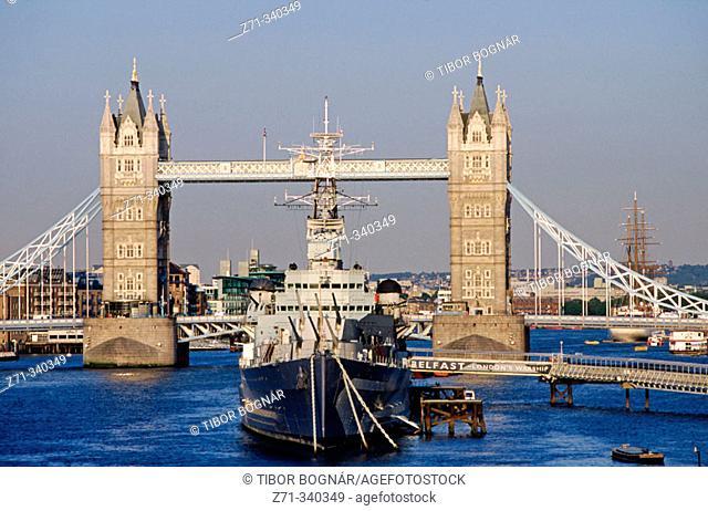 HMS Belfast, Tower Bridge. London. England. UK