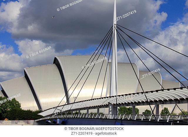 UK, Scotland, Glasgow, Clyde Auditorium, The Armadillo, Bell's Bridge,