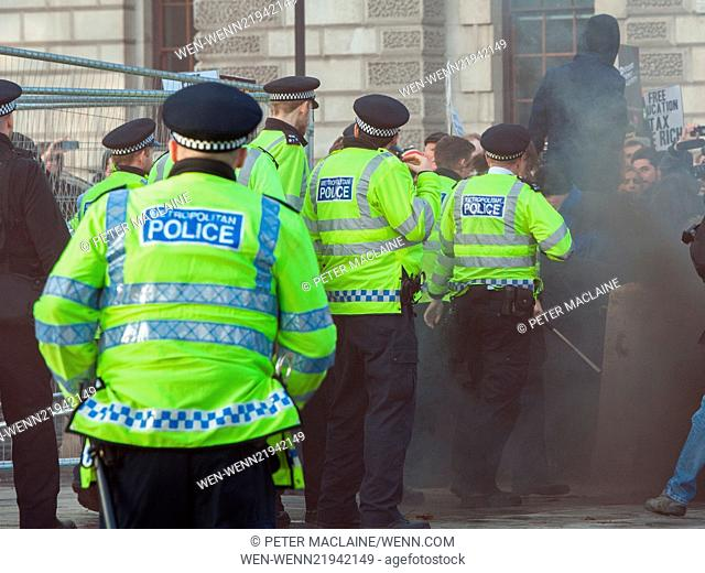 Students clash with police on the Free Education protest organised by the National Campaign Against Fees and Cuts (NCAFC)