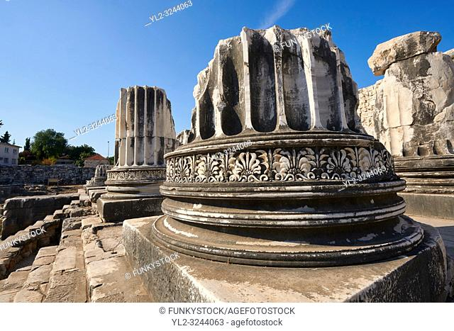 Picture of the freize around a column base of the ruins of the Ancient Ionian Greek Didyma Temple of Apollo & home to the Oracle of Apollo