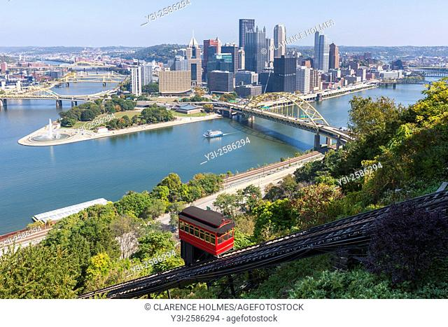 The Duquesne incline descends from Mt. Washington, with the skyline in the background in Pittsburgh, Pennsylvania