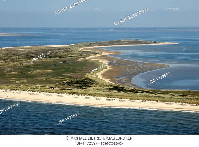 Aerial view, Ellenbogen spit with Listland and Koenigshafen bay, most northern piece of land in Germany, Sylt island, Nationalpark Schleswig-Holsteinisches...