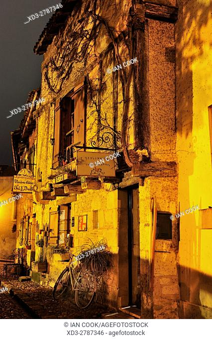 Rue du Grand Moulin at night, Bergerac, Dordogne Department, Aquitaine, France