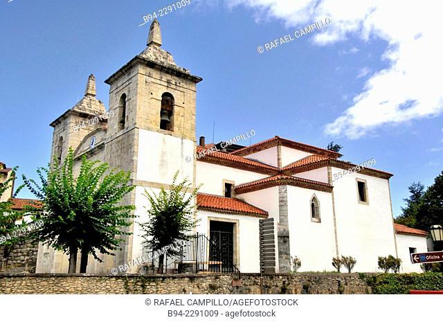 Santa María de Colombres church. Prominent temple facade built from plans made by the architect Dario Regollos Molenillo, father of the famous painter