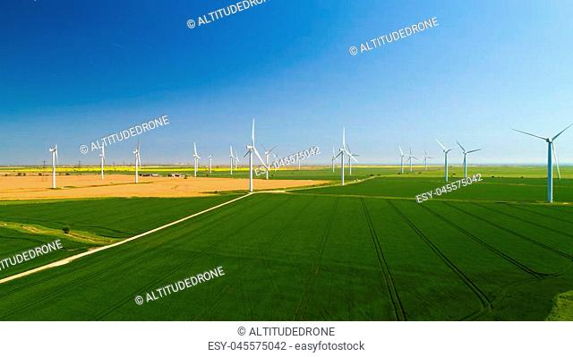 Aerial view of wind turbines in the english countryside