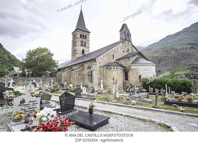 ARTIES LLEIDA SPAIN ON SEPTEMBER 9, 2018: Cemetery in Santa Maria de Arties church Aran valley Catalunya Spain