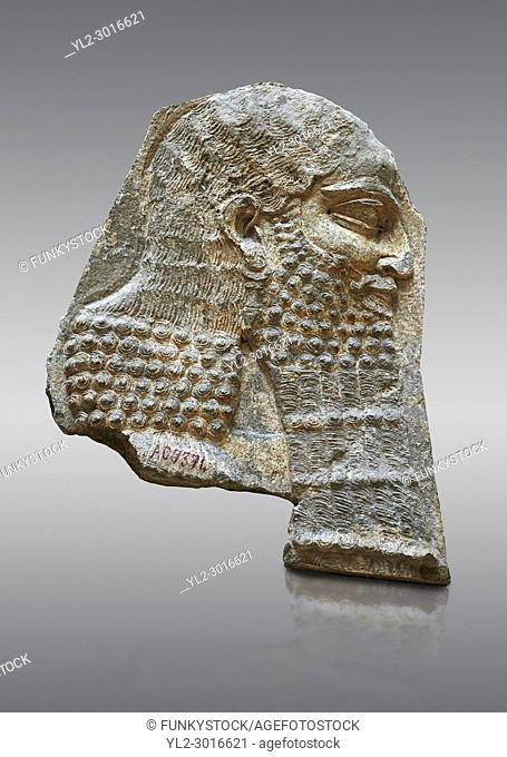 Stone relief sculptured panel of a Dignitary. Inv AO 7374 from Dur Sharrukin the palace of Assyrian king Sargon II at Khorsabad, 713-706 BC