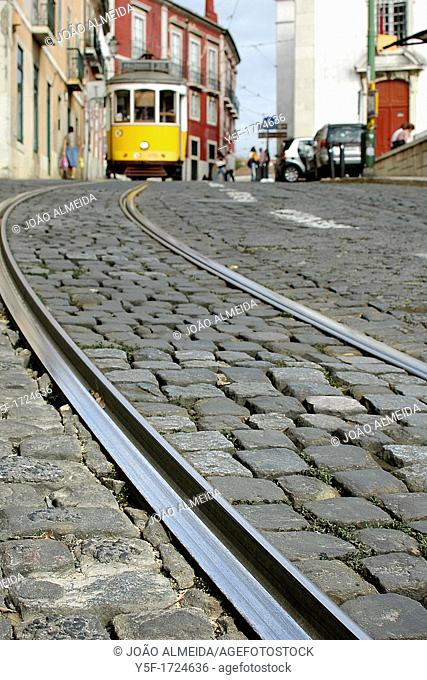 Tramlines and Lisbon's yellow tram