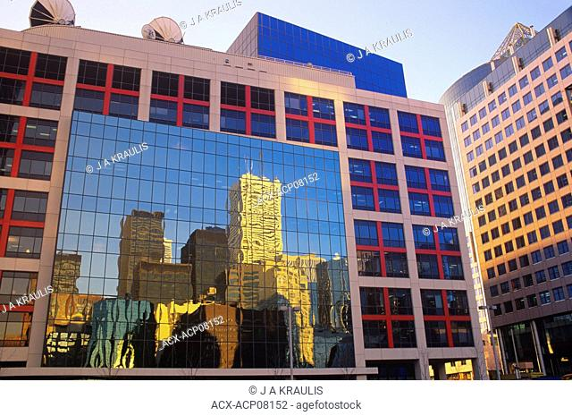 CBC Building with Downtown Skyline reflection, Toronto, Ontario, Canada