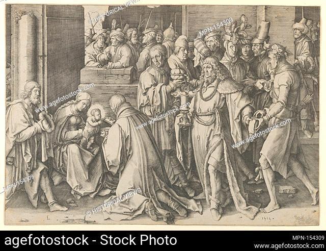 Adoration of the Magi. Artist: Lucas van Leyden (Netherlandish, Leiden ca. 1494-1533 Leiden); Date: 1513; Medium: Engraving; first state; Dimensions: sheet: 11...