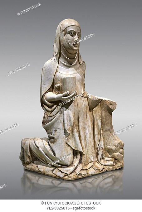 Gothic marble statue of Mary Magdelane (Magdelena) by Mestre de Pedralbes of Barcelona, 2nd half of 14th Century, from the cemetery of the cathedral of...