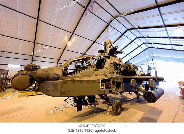 AH-64 Apache Helicopter Gunship Undergoing Maintenance