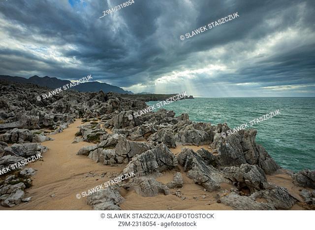 Stormy skies at Punta San Antonio near Ribadesella, Asturias, Spain