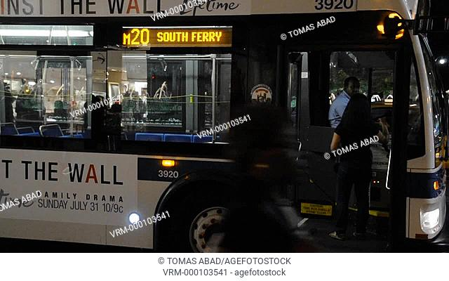 M20 MTA public transportation bus, Broadway, Manhattan, New York City, Columbus Circle, Mid Town, USA