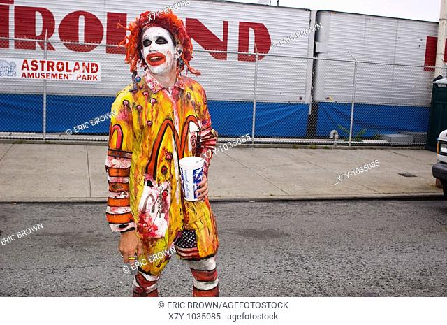 A freaky looking McDonald's clown at the Mermaid Parade, Coney Island, NY