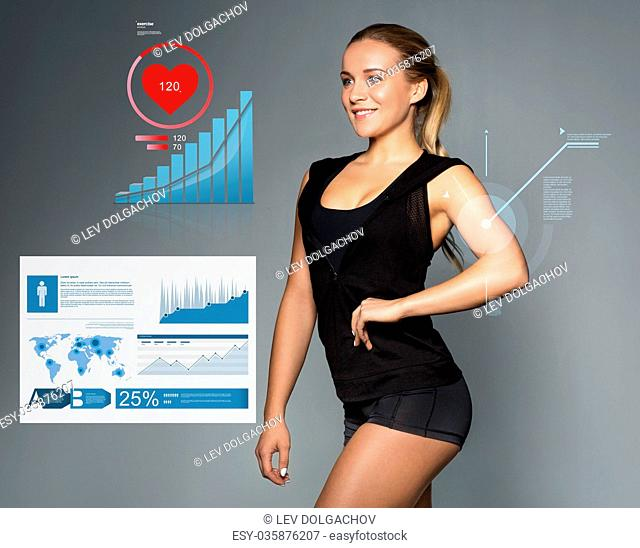 young woman in sportswear with charts and pulse
