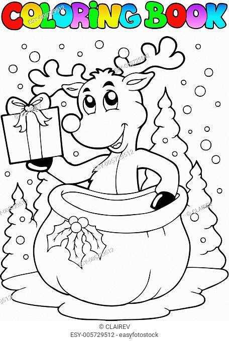 Coloring book reindeer theme 2
