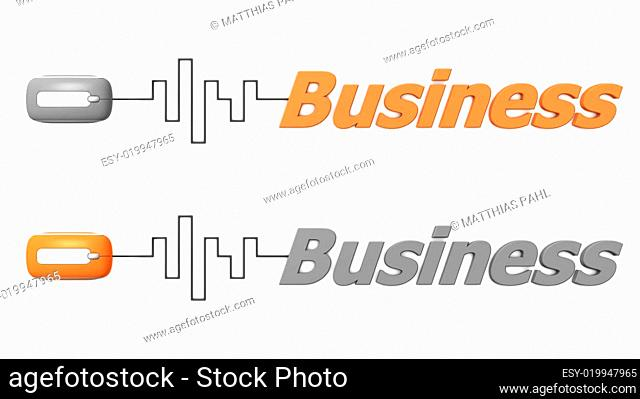 Word Business Connected to a Mouse - Orange and Grey