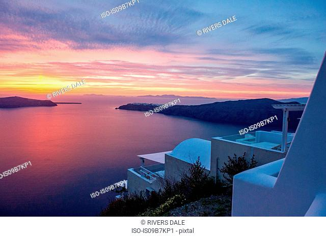 View to sea and sunset, Oía, Santorini, Kikladhes, Greece