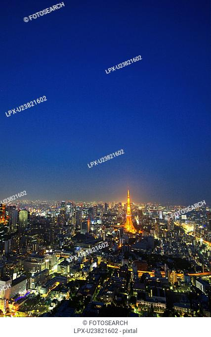 Tokyo tower in night cityscape