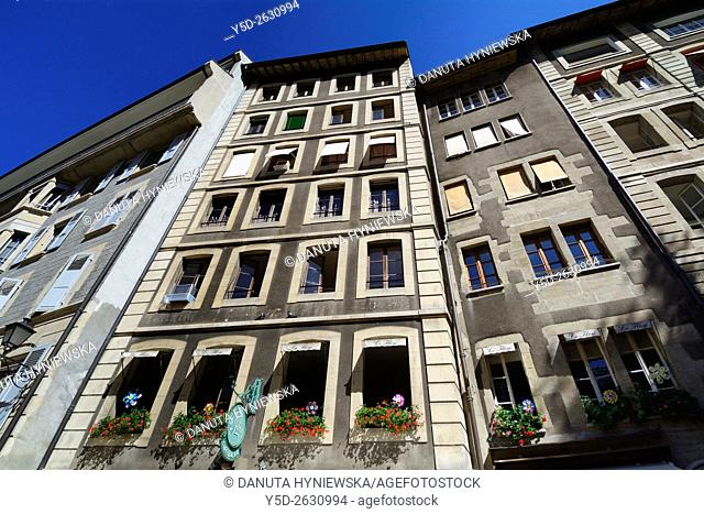 facades of townhouses in old town of Geneva, Switzerland, Europe