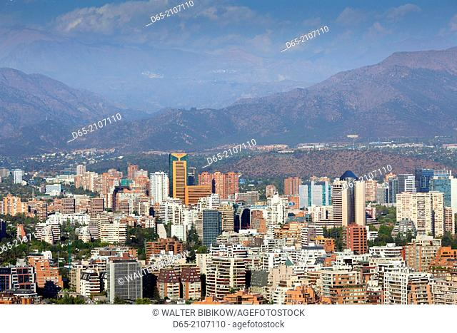 Chile, Santiago, elevated view of Providencia buildings Cerro San Cristobal hill