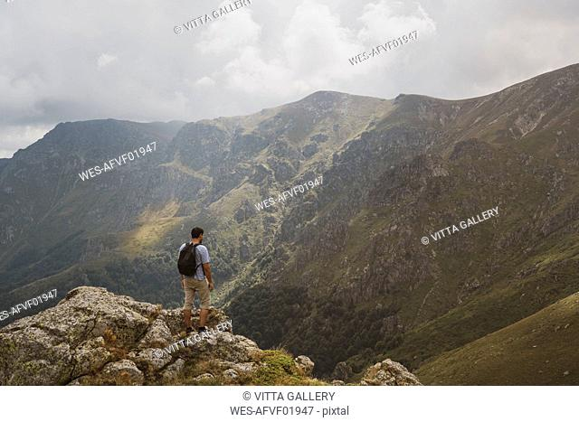 Bulgaria, Balkans, hiker on viewpoint