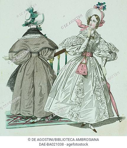 Woman wearing a white dress with floral embroidery, puffed sleeves and white bonnet adorned with pink ribbon, woman wearing a brown-striped coat and white hat...