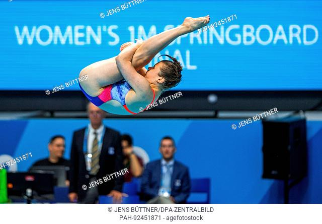 dpatop - Tina Punzel from Germany in action during the women 1 m platform diving finale at the FINA World Championships 2017 in Budapest, Hungary, 15 July 2017