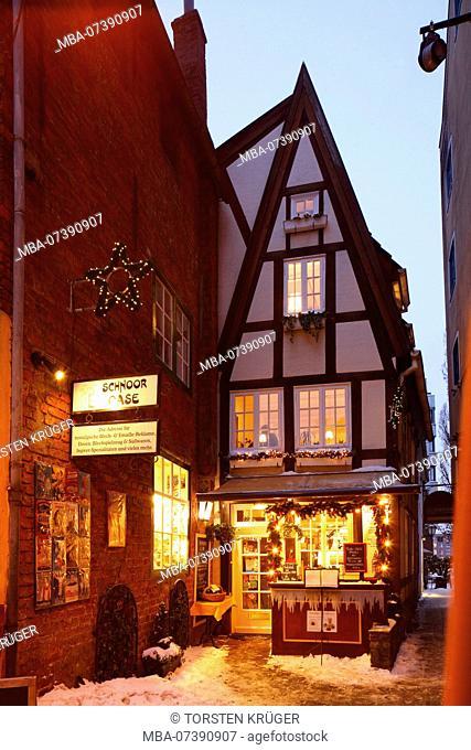 Teahouse gable house at the Wüsten Stätte in Schnoorviertel, Bremen, Germany, Europe