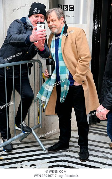 Star Wars Mark Hamill seen leaving BBC Radio Two Studios after promoting the new Star Wars movie. Mark known as Luke Skywalker was carrying a coffee flask and...