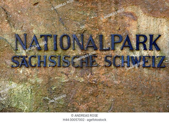Stone on the rise to the bastion with lettering Saxon Switzerland National Park, Saxony, Germany, Europe