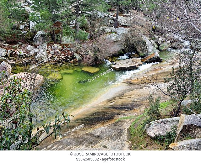 Manzanares river in the Pedriza. Sierra de Guadarrama. Manzanares el Real. Madrid. Spain. Europe